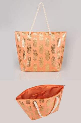 Beach Bags Orange & Gold Pineapple Print Straw Beach Bag With Rope Handles 152251