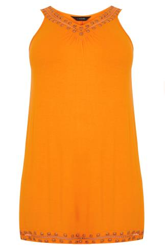 Orange Longline Sleeveless Top With Gold Studded Neckline