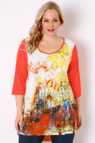 Orange & Multi Floral Print Jersey Top With Dipped Hem 170060