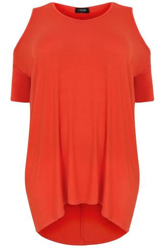 Orange Oversized Top With Cold Shoulder Cut Out & Extreme Dipped Hem