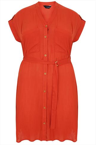 Orange Utility Style D-Ring Shirt Tunic Dress With Pocket Detail