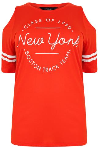 "Orange Varsity ""New York"" Slogan Print Cold Shoulder Top"