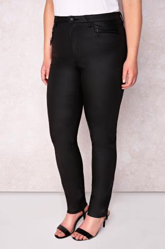 PAPRIKA Black Coated Straight Leg Trousers With Zip Pockets & PU Trims
