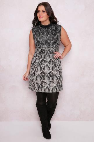 PAPRIKA Black & Ivory Patterned Sleeveless Knitted Tunic Dress With Roll Neck