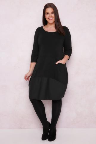 PAPRIKA Black Jersey Swing Dress With Pockets & Contrast Panel
