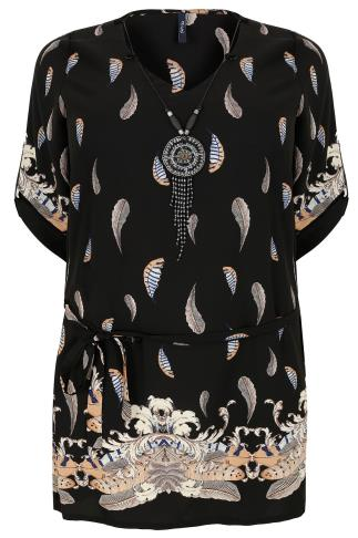 PAPRIKA Black & Multi Feather Print Tunic Top With Tie Waist & Necklace Detail