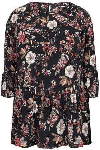 PAPRIKA Black & Multi Floral Blouse With Frilled Panels