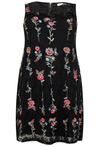 PAPRIKA Black & Multi Floral Lace Embroidered Shift Dress