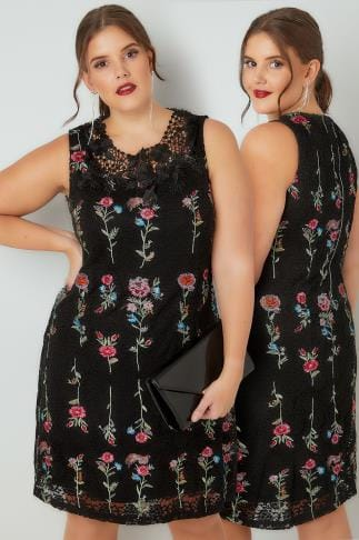 Swing & Shift Dresses PAPRIKA Black & Multi Floral Lace Embroidered Shift Dress 138821