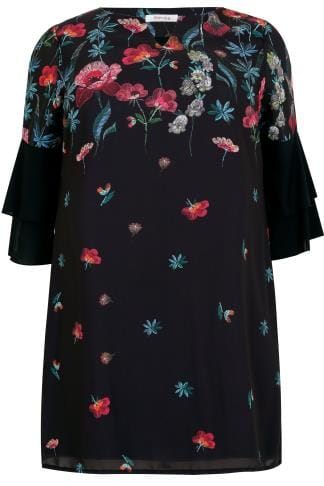 PAPRIKA Black & Multi Floral Print Longline Top With Frilled Flute Sleeves