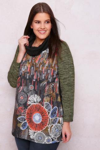 PAPRIKA Black & Multi Mixed Print Roll Neck Jumper