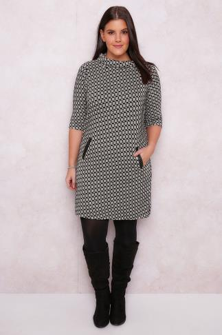 PAPRIKA Black & Neutral Diamond Print Knitted Tunic Dress With Roll Neck