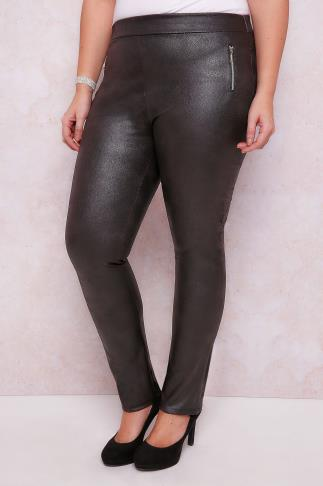 PAPRIKA Black Pull On Leather Look Trousers With Zip Trims