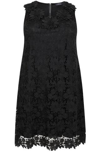PAPRIKA Black Shift Dress With Floral Lace Overlay