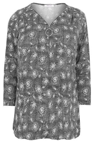 PAPRIKA Black & White Floral Patterned Top With Zip Neck