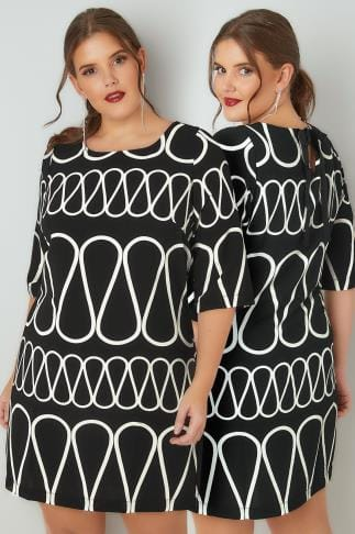 Swing & Shift Dresses PAPRIKA Black & White Patterned Shift Dress With Rear Bow Tie Fastening 138817
