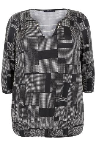 PAPRIKA Black & White Patterned Textured Top With Chain Detail