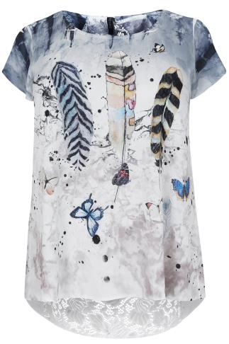 PAPRIKA Blue & White Feather Print Top With Lace Detail - Made In Italy