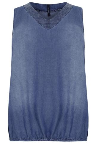 PAPRIKA Blue Denim Tencel® Sleeveless Top With Sequin Neckline - Made In Italy