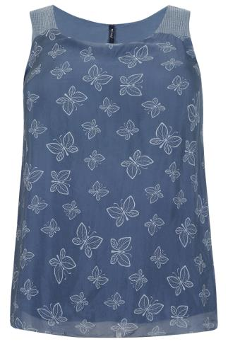 PAPRIKA Blue Silk Mix Butterfly Print Sleeveless Top With Sequin Detail - Made In Italy