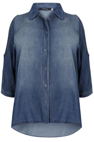 PAPRIKA Blue Tencel® Cold Shoulder Shirt - Made In Italy