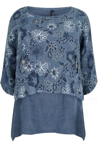 PAPRIKA 2 in 1 Blue Top With Floral Print Overlay