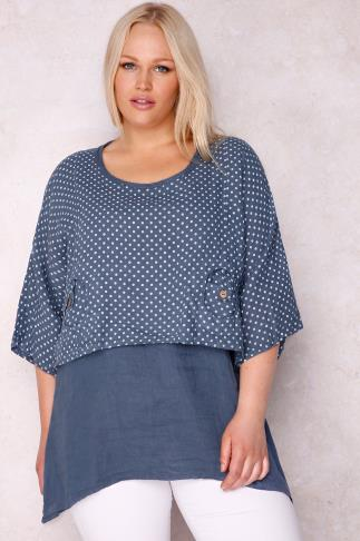 PAPRIKA Blue Two Piece 100% Linen Longline Top With Polka Dot Overlayer - Made In Italy