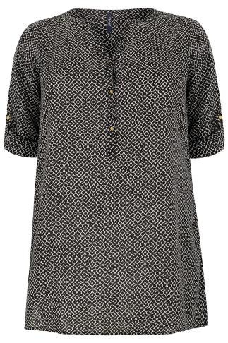 PAPRIKA Brown & Cream Patterned Longline Blouse With Tunisian Collar