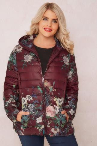 Coats PAPRIKA Burgundy Floral Print Quilted Puffer Jacket With Hood 138753