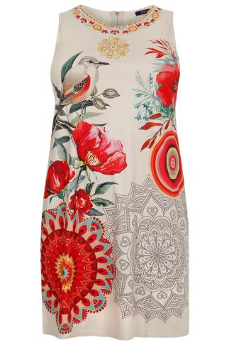 PAPRIKA Cream & Red Floral & Mandala Print Suede Shift Dress