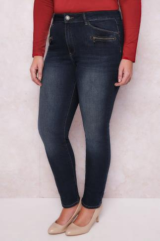 "PAPRIKA Dark Denim Slim Fit Extra Long Jeans With Zip Pockets - 31"" Leg"