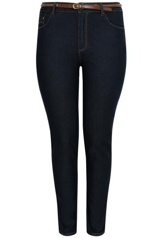 "PAPRIKA Dark Denim Straight Leg Jeans With Brown Belt - 31"" Leg"