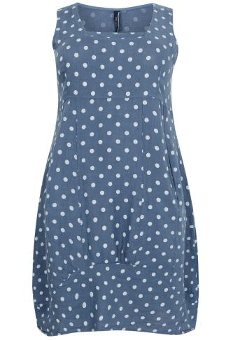 PAPRIKA Blue Polka Dot Print 100% Linen Dress - Made In Italy