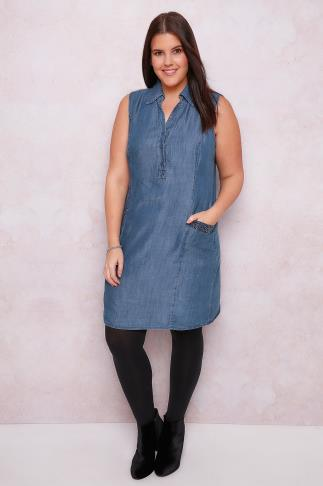 PAPRIKA Denim Tencel® Shirt Dress With Sequin Detail Pockets