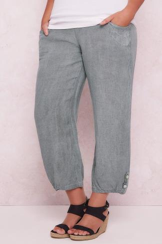PAPRIKA Grey Linen Loose Fit Pull On Ankle Grazer Trousers 138487