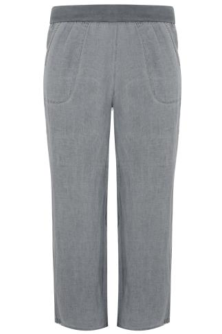 PAPRIKA Grey 100% Linen Trousers With Elasticated Waist - Made In Italy