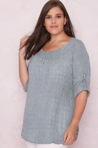 PAPRIKA Grey Smock Top With Ruched Neckline 138612