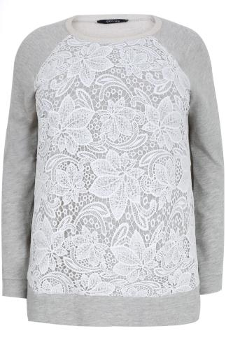 PAPRIKA Grey & White Floral Lace Front Cotton Mix Jumper