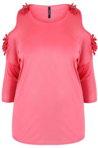PAPRIKA Hot Pink Shimmer Cold Shoulder Top With Floral Detail