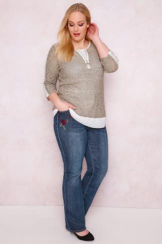 Bootcut & Flares PAPRIKA Indigo Embroidered Faded Bootcut Jeans 138341