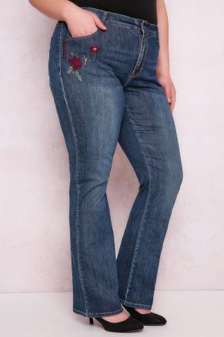 PAPRIKA Indigo Embroidered Faded Bootcut Jeans