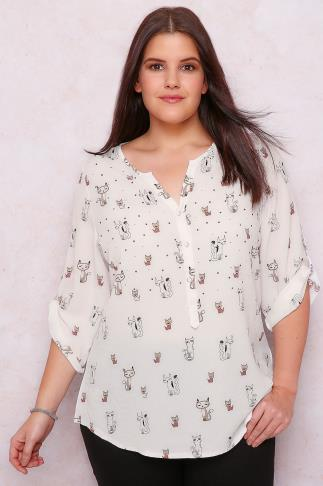 PAPRIKA Ivory Cat Print Blouse With Diamante Detail