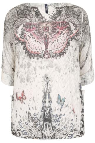 PAPRIKA Ivory & Multi Embellished Butterfly Print Knitted Top