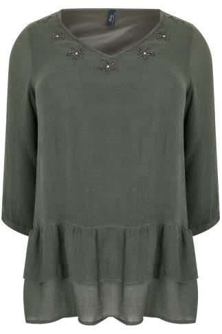 PAPRIKA Khaki Blouse With Tiered Frill Hem