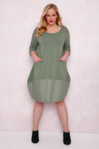 PAPRIKA Khaki Jersey Swing Dress With Pockets & Contrast Panel 138360