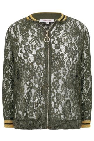 Bomber Jackets PAPRIKA Khaki Lace Bomber With Contrasting Trims 138717