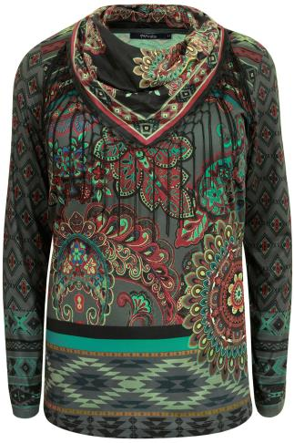 PAPRIKA Khaki & Multi Paisley Pattern Top With Fringed Scarf