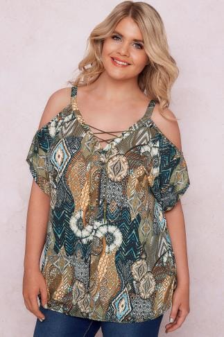 Day Tops PAPRIKA Khaki & Multi Tribal Cold Shoulder Top With Bubble Hem 138622
