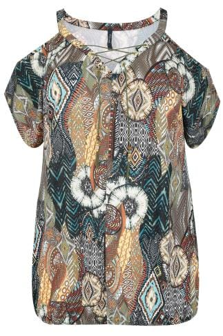 PAPRIKA Khaki & Multi Tribal Cold Shoulder Top With Bubble Hem