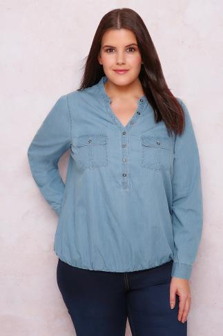 PAPRIKA Light Denim Blouse With Elasticated Bubble Hem